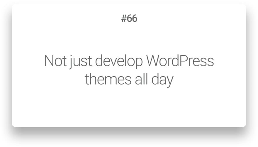Not just develop WordPress themes all day