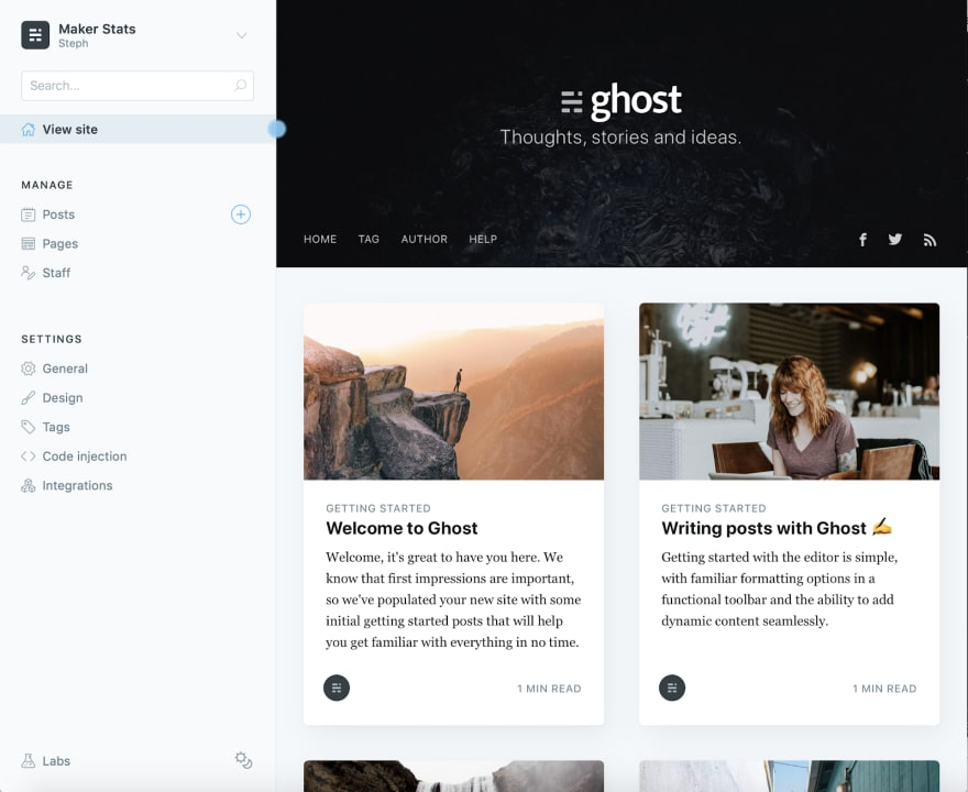 The Ghost portal that can be found at anytime through your domain/ghost or subdomain/ghost.