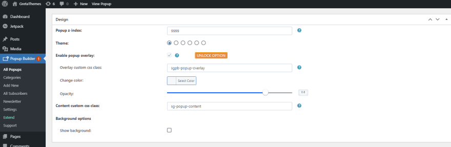 In the Design section, you can customize some components as you like.