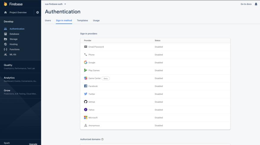 Firebase Authentication Options