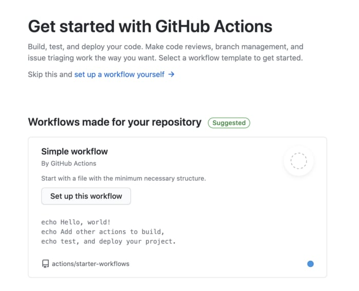 Sección de Github actions en Github