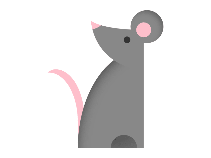 Minimalistic illustration of a mouse with rounded ears looking back