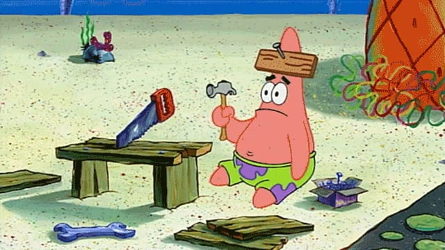 Patrick with a hammer
