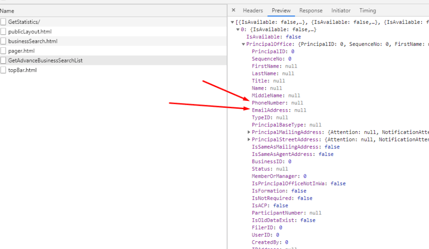 phone number and email address potential fields returned<br>