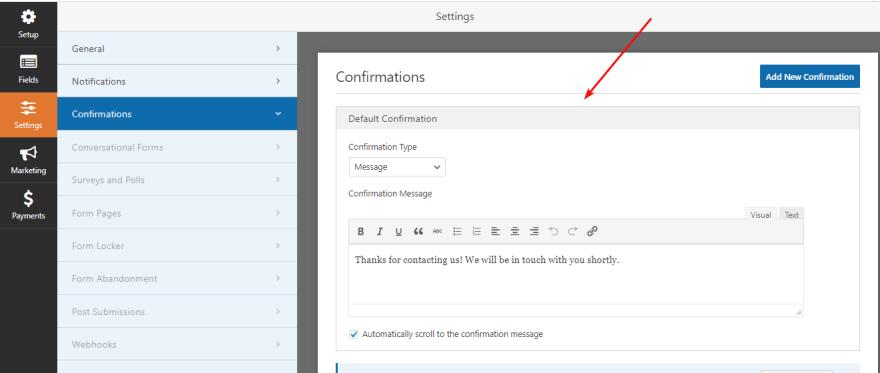 Configure the Confirmations of WPForms plugin