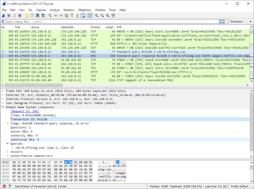 Wireshark network sniffer