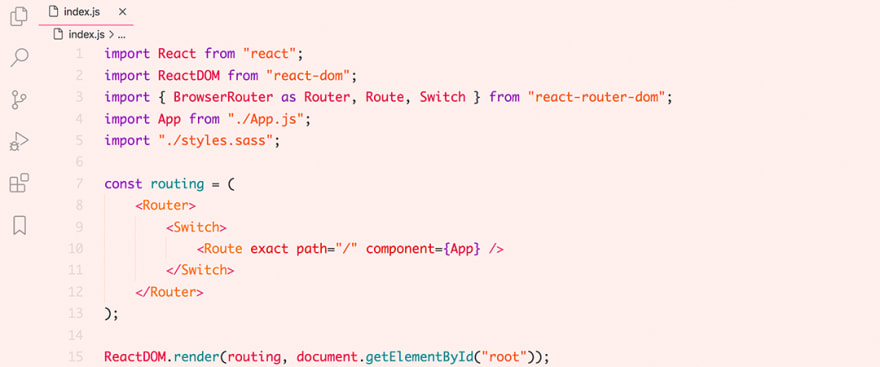 React code snippet with the Horizon - Bright theme