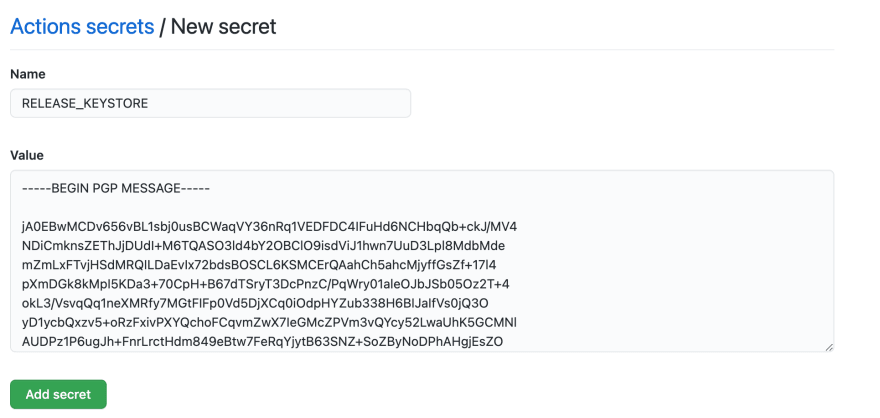 Example of secret form in Github