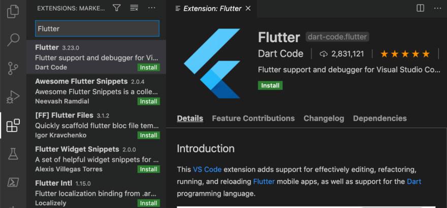 Installing Flutter Extension in Visual Studio Code