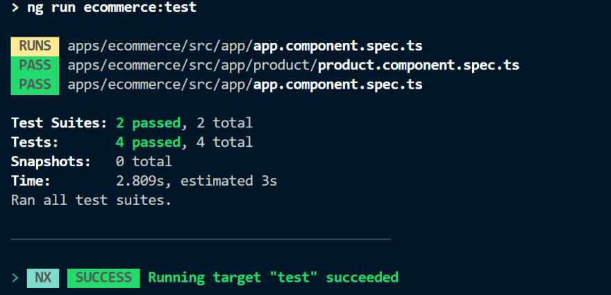 output of ecommerce test