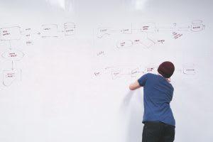 Engineer writing on whiteboard