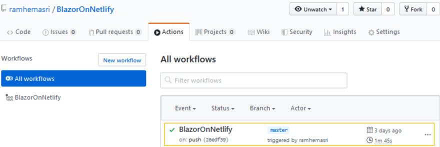 Github workflow status