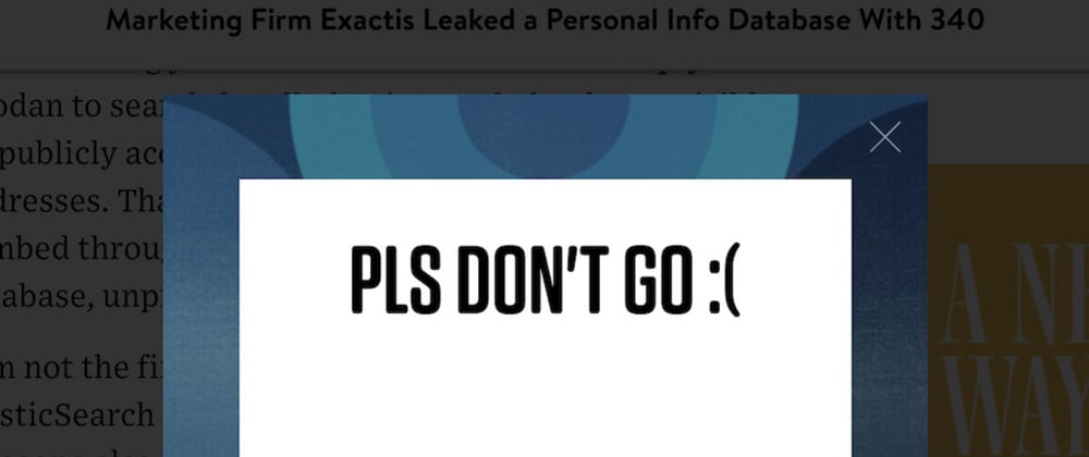 Cover image for I don't like exit intent popups.