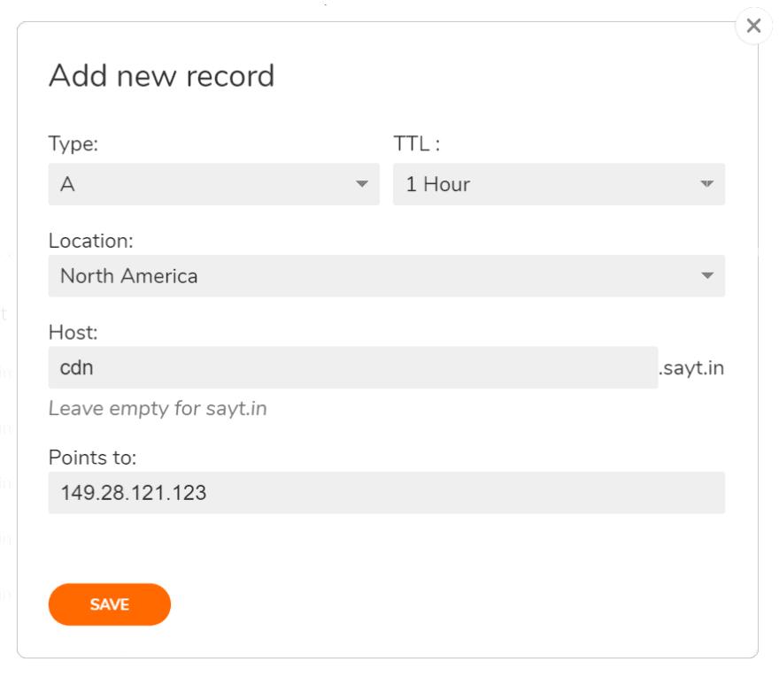 Add new DNS record