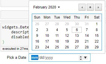 Date picket calender widget