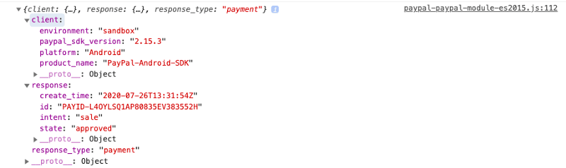 Successful payment response on Chrome console