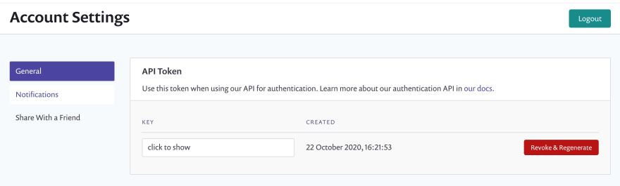 API token settings
