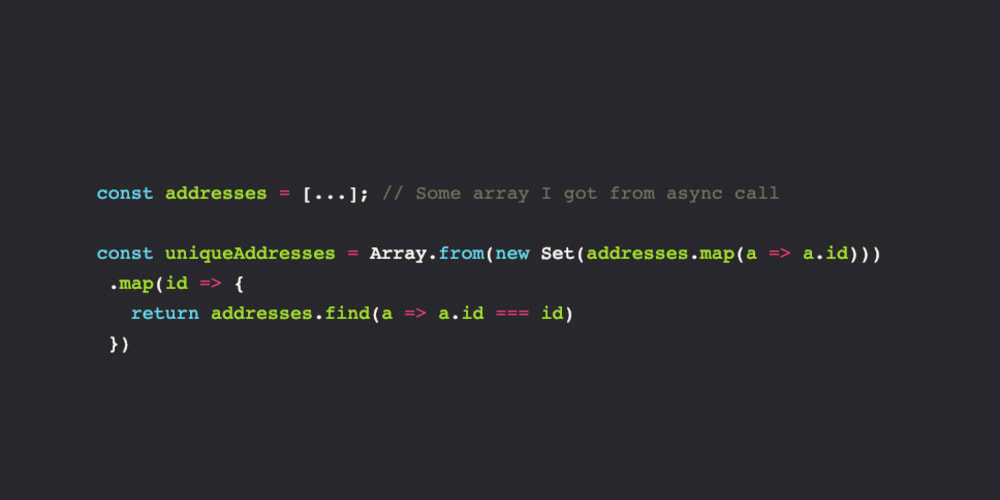 Removing duplicates in an Array of Objects in JS with Sets