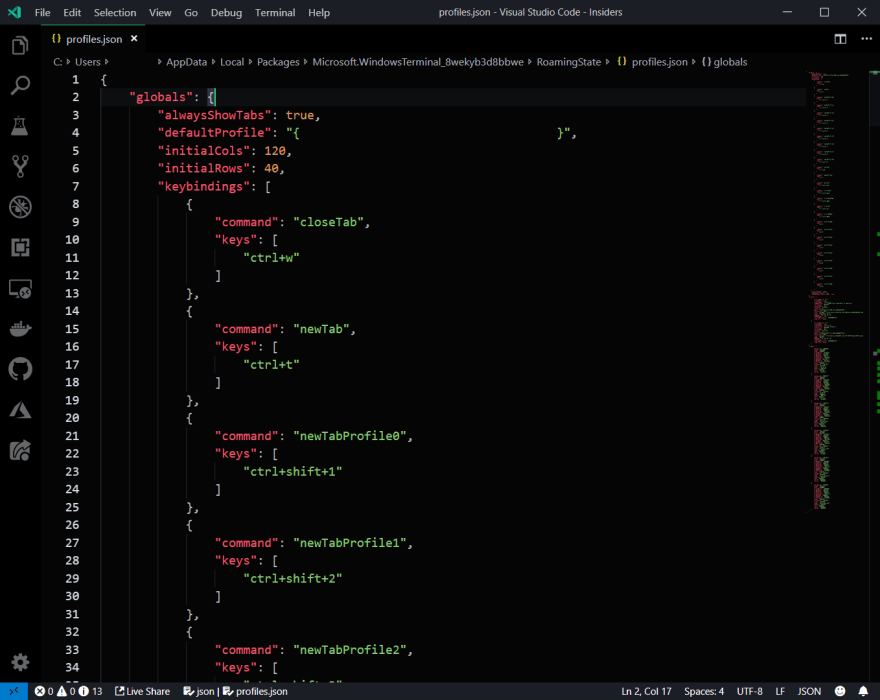 The JSON file for editing Windows Terminal settings edited using Visual Studio Code.