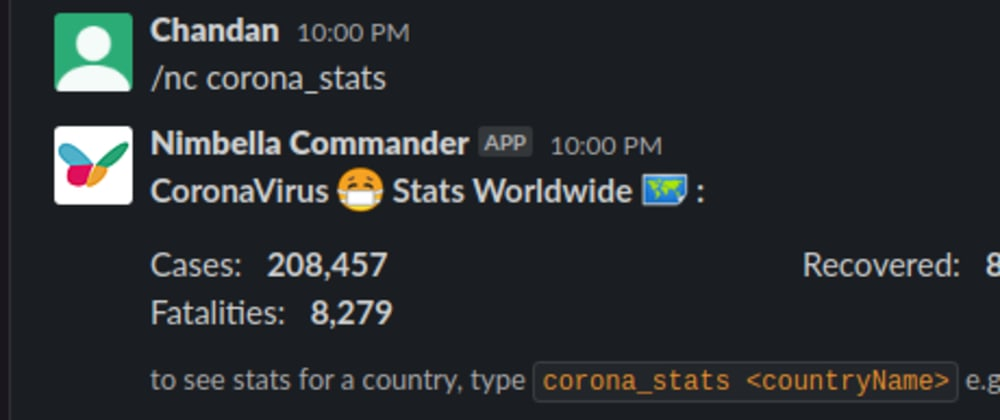 Cover image for Get live Coronavirus stats in Slack with Nimbella Commander