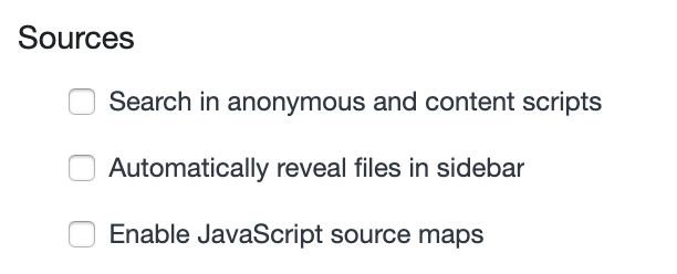 """Unchecked """"Enable JavaScript source maps"""""""
