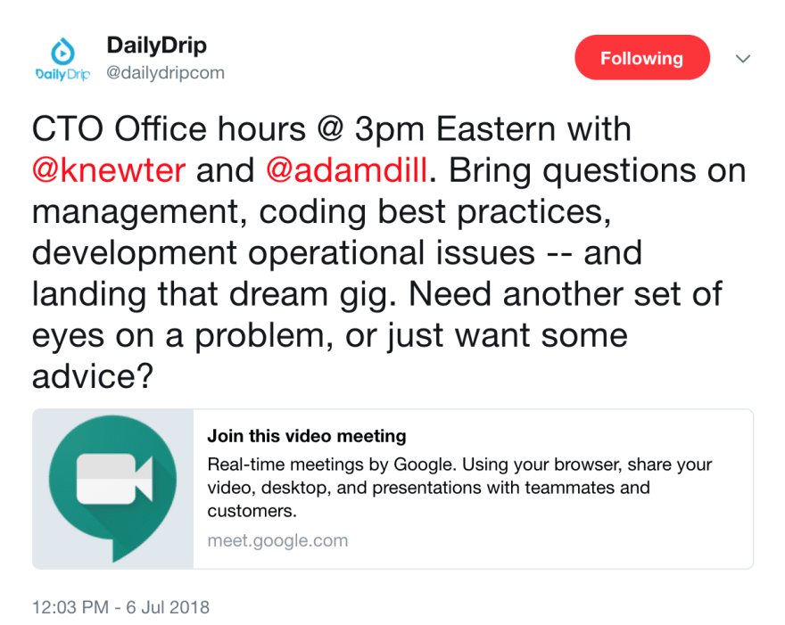 Twitter Picture of Announcement for Office Hours