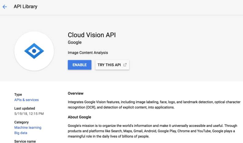 Vision API Enable