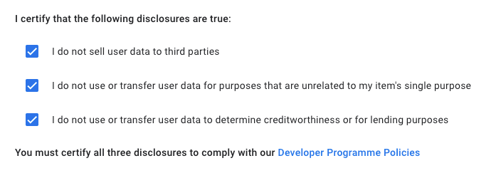 Certify that your extension does not use the user's data