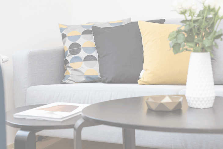Opaque Image of a Sofa, Coffee Table, and Pillows