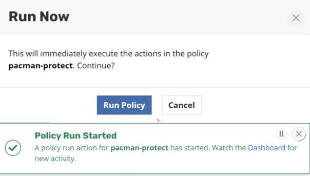 kasten policy run now
