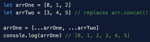 Alt Text: If you have two arrays called 'arr' and 'arrTwo', you can concatenate them using the spread operator. Set 'arr' equal to [...arr, ...arrTwo], and 'arr' will include all the elements in both arrays in the order in which they are received.