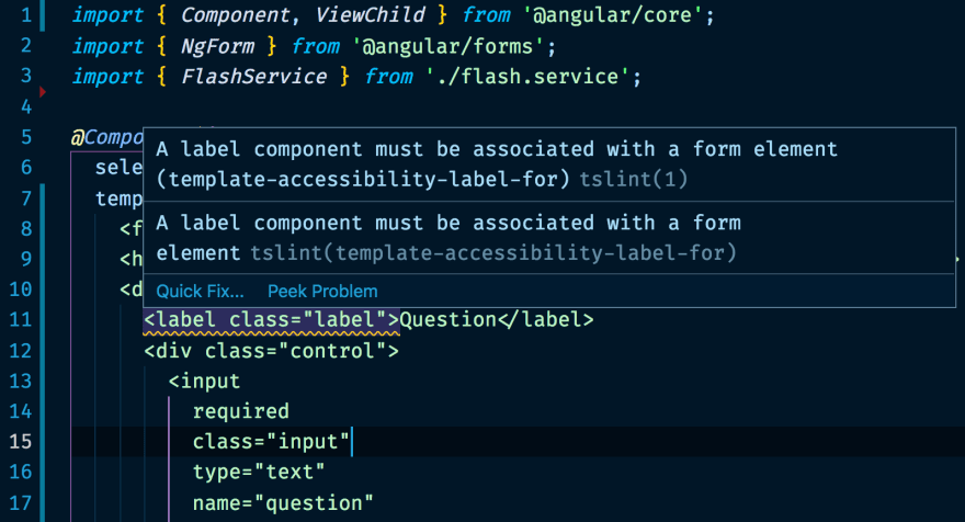 Codelyzer highlighting accessibility issues in an Angular application