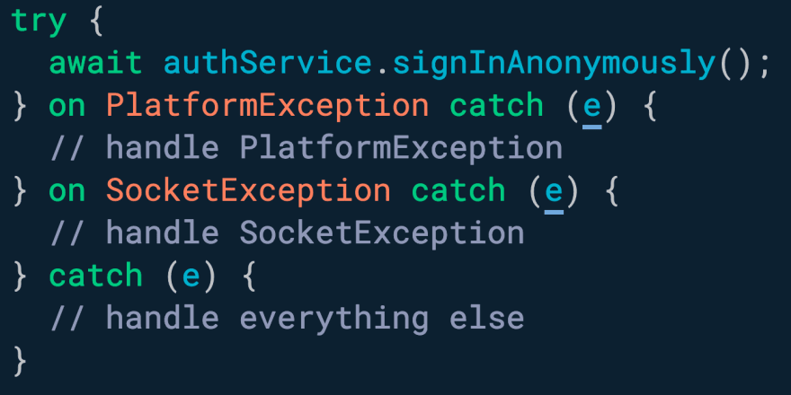You can catch and handle exceptions by type with multiple `on` clauses.