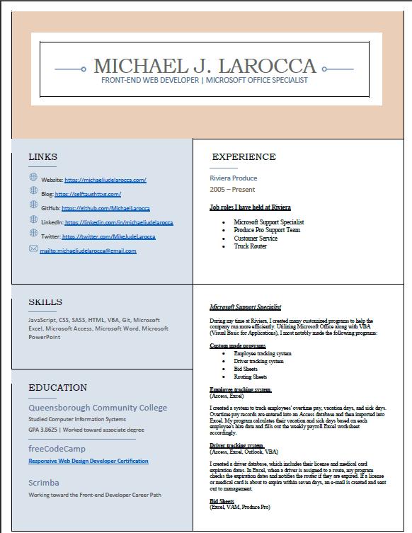 MJL resume page one