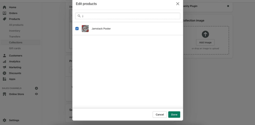 A screenshot showing Products in the collection editor
