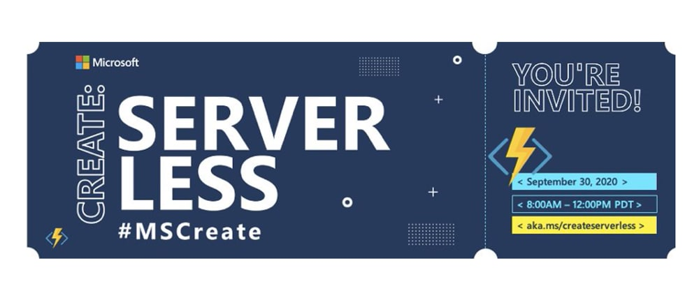 Cover image for Microsoft Create:Serverless - Conversations with Community and Industry Experts!
