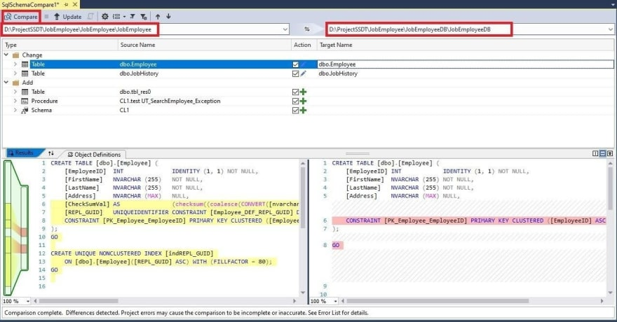 Database schema comparison window