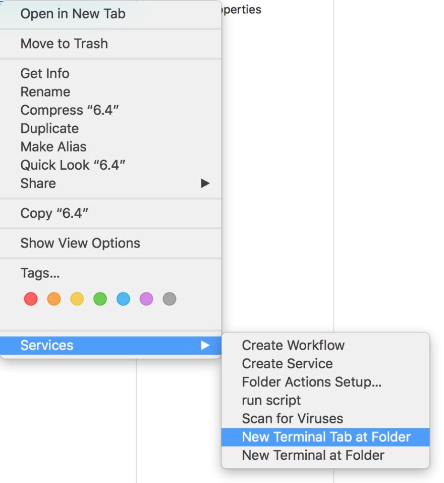 New Terminal Tab at Folder