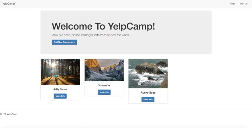 selection of various campgrounds with tent photos from Yelp Camp app