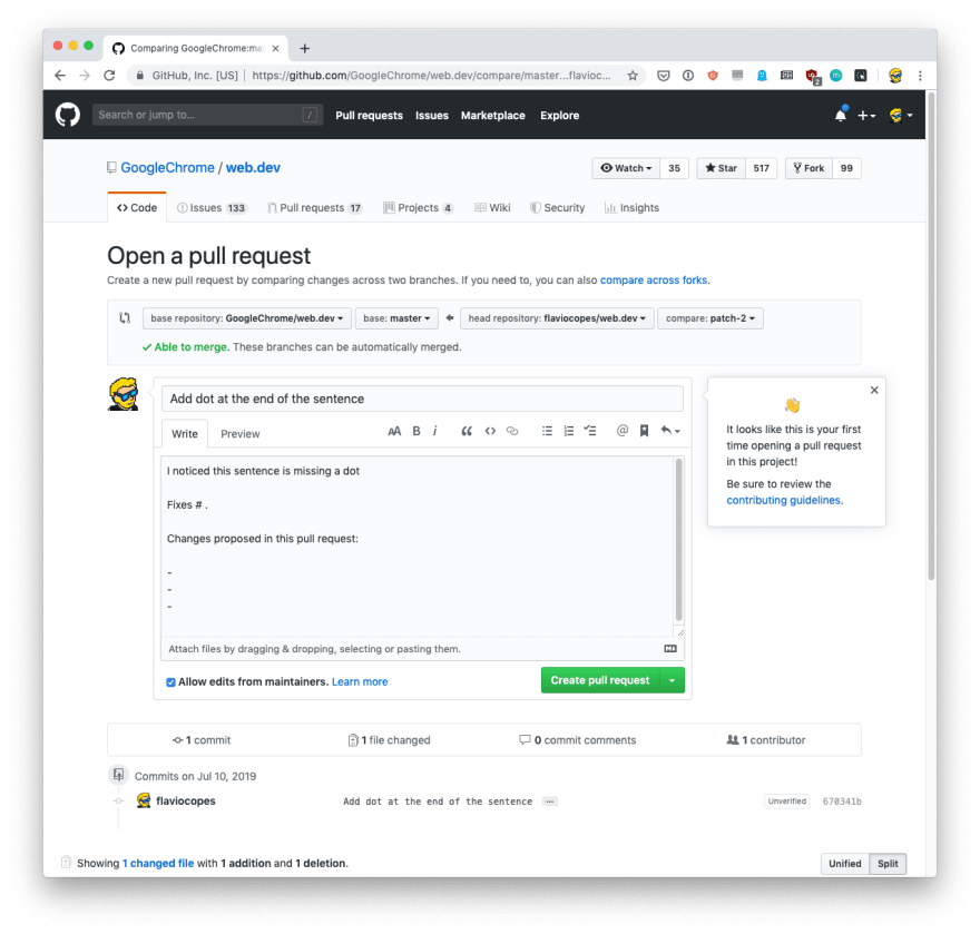 Open pull request