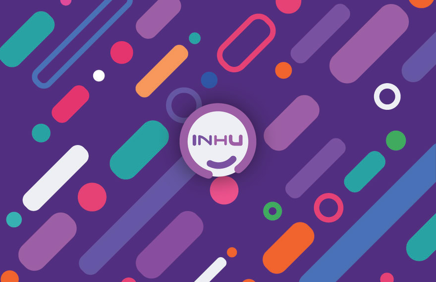 """The InHu logo sat on top of the background with a drop shadow to make it look like it is floating. The InHu logo is a white circle with a thick pink outline with a slight gap at the bottom containing the text InHu split dark purple for """"In"""" and pink for """"Hu"""" with a little curve at the bottom within the white circle in dark purple also. Due to weighting on the """"I"""" and the """"U"""" being stronger and the small curved line at the bottom it looks like a smiling face. The background is dark purple with 45 degree rounded rectangles, hollow circles with thick outlines and filled circles with multiple colours that are bright and vibrant."""