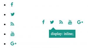 Iconos con distribución vertical y horizontal