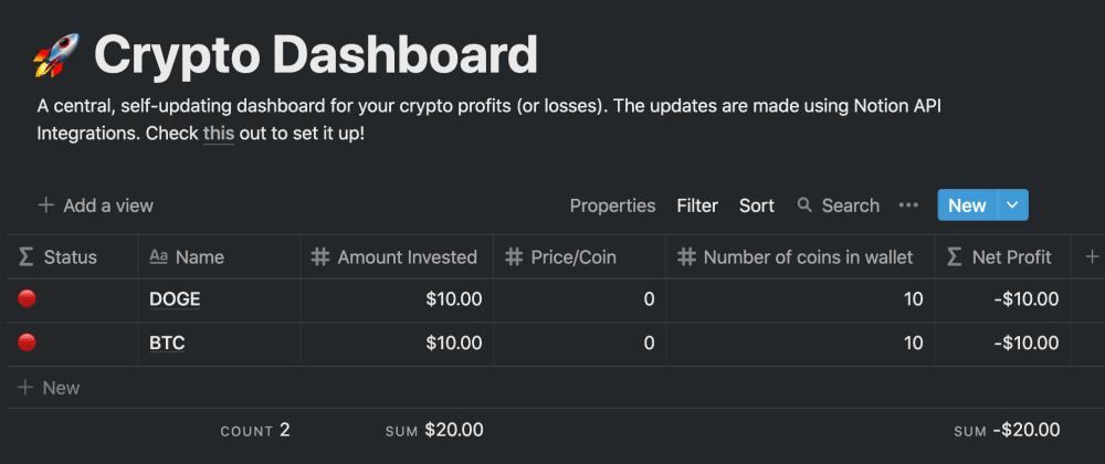 Cover image for # Crypto Profits Tracker (feat. Notion API)