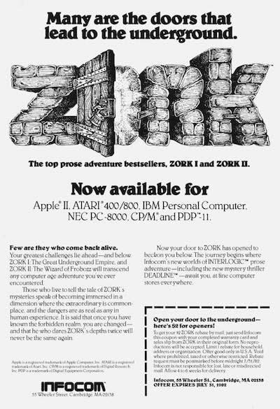 An ad for the text-based adventure game Zork developed by Infocom.