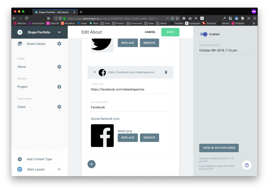 Filling in About Page Content Entry In TakeShape