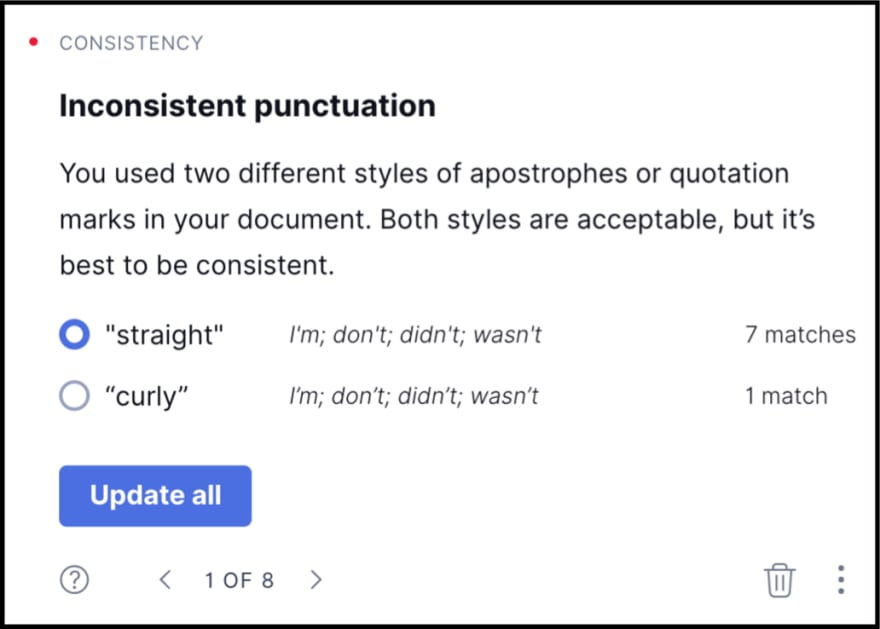 Grammarly punctuation check.