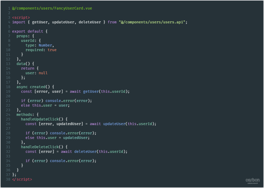 FancyUserCard component that imports API methods