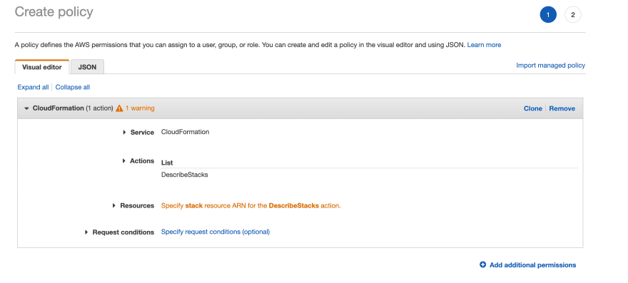 AWS IAM Console adding CloudFormation:DescribeStack permission to our user