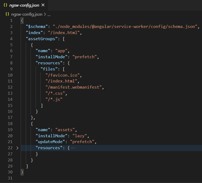ngsw-config.json code window