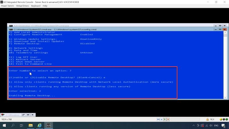 enable RDP access